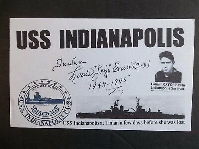 USS INDIANAPOLIS Survivor Louis KAYO Erwin WWII Autographed 3x5 Index Card