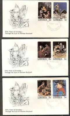 NORMAN ROCKWELL BOY SCOUT STAMPS on covers - 5 different 5¢ stamps