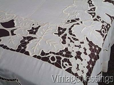 "Antique Cutwork Lace Grapes Coverlet 84"" x 77"""