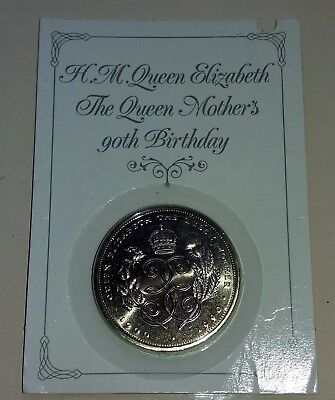 1990 UK QUEEN MOTHER 90th BIRTHDAY £5 FIVE POUNDS COIN - SEALED