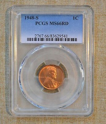 1948-S Lincoln Wheat Cent - Pcgs Slabbed - Ms66Rd