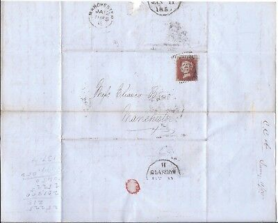Gb: 1855 Glasgow - Manchester Entire Letter Penny Red Star - Very Clean For Era.