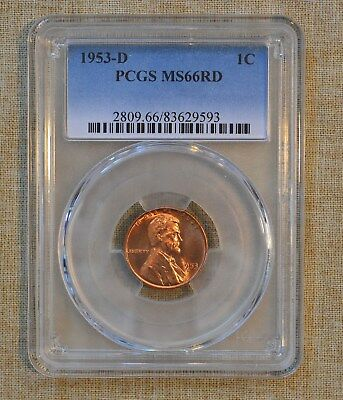 1953-D Lincoln Wheat Cent - Pcgs Slabbed - Ms66Rd