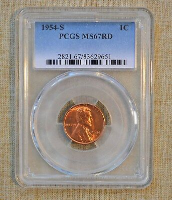 1954-S Lincoln Wheat Cent - Pcgs Slabbed - Ms67Rd