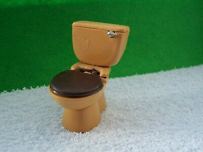 Dolls House, Lundby, Toilet, Wc, Brown, 16Th, Handle, Seat, Lid, Vintage