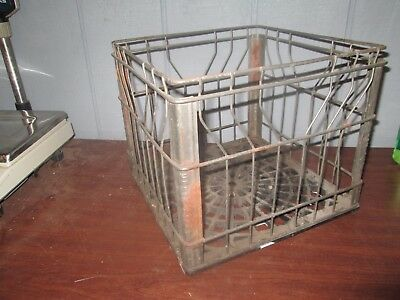Vintage Metal Wire Milk Crate Grocers Dairy