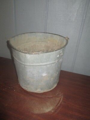 Vintage Galvanized Fireplace Ash Feed Bucket Pail Can  Dented/used