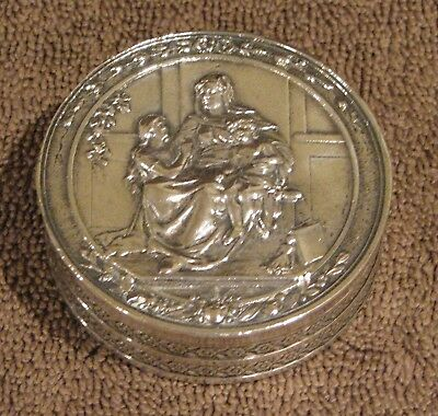 Beautiful Antique 800 Silver Religious Snuff Pill Box Marked