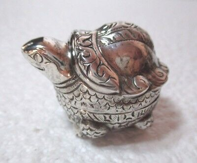 Antique SILVER 'Turtle/Tortoise' Lidded Pot/Container.  5 x 4 cm  (Chinese?)