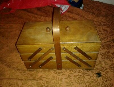 Victorian edwardian concertina sewing box extends antique