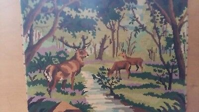 "Handworked completed tapestry ""FAMILY OF DEER"" 50cm x 37cm (approx 19""x 14"")"