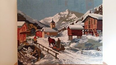 "Handworked completed tapestry ""SNOWY VILLAGE"" 65cm x 50cm (approx 26""x19"")"