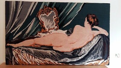 "Handworked completed tapestry ""NUDE"" 72cm x 43cm (approx 28""x17"")"