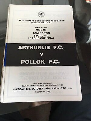 POLLOK  v ARTHURLIE 14.10.1986 LEAGUE CUP FINAL at Motherwell