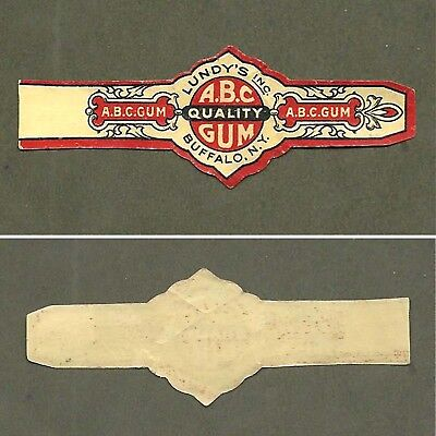 "Vintage A. B. C. BUBBLE GUM ""CIGAR"" BAND Lundy's Inc. Buffalo N.Y."
