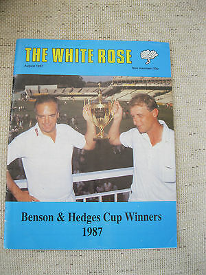 Cricket Programme -The White Rose 1987.Tribute to winning the Benson Hedges