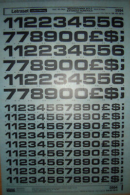 LETRASET Transfers MICROGRAMMA BOLD EXTENDED 60-36pt NUMBERS 19.9-12mm NEW #3594
