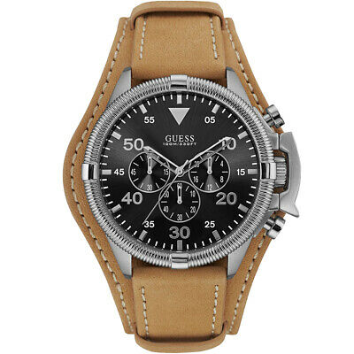 Guess Watch Mens Chronograph W0480G4 Rover Leather Wrist Band NEW