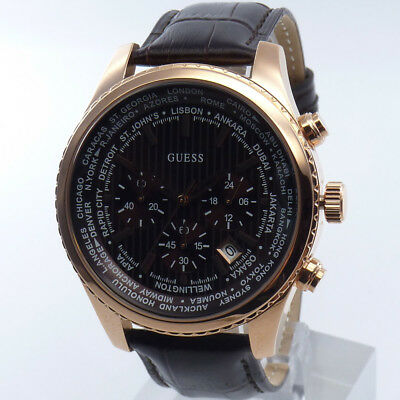 Guess Watch Watches Mens Watch Chronograph W0500G3 rose gold wristwatch new