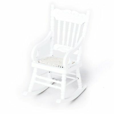 1/12 Miniature Dollhouse Wooden Rocking Chair Model White C3M9 W0H2