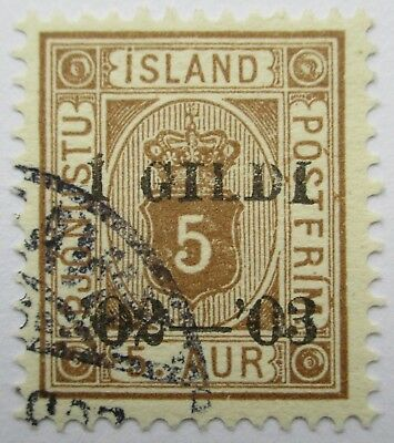 Iceland. Two fine used overprinted official issues, 1902.