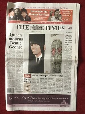 The Times Tribute To George Harrison. Sat December 1 2001