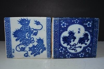 A Pair 18th 19th Century Antique Chinese White And Blue Small Pillow W/ Mark