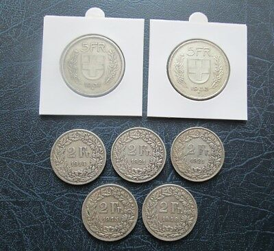 Lot of Switzerland Silver Coins 1914-1953 - 5x 2Francs + 5 Francs 1931, 1953