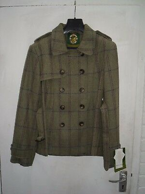 Oxford Blue Trench  Tweed Jacket With Belt Size 14 Pure New Wool  Grey