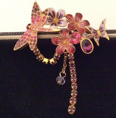 Vintage Jewellery Adorable Enamel Dragonfly And Flowers Crystal Brooch