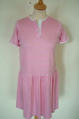 Vintage 70s 80s pink striped drop-waist girls' summer sport dress, age 11-12