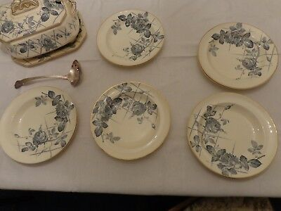 Vintage burgess and leigh china soup tureen and soup plates