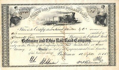 Baltimore and Ohio Rail-Road Company, 25 Shares, Baltimore 12. September 1855