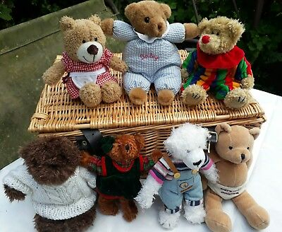 Collection of 7 small dressed teddy bears from Germany