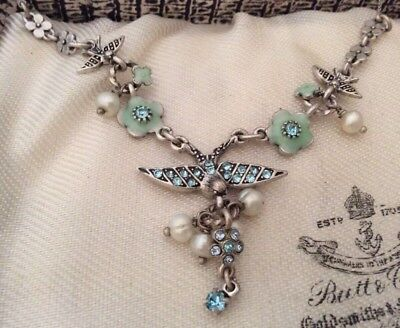 Vintage Jewellery Danish Signed Aqua Marine & Real Pearl swallow bird necklace