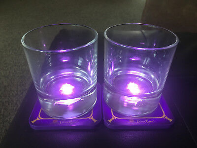 SET OF 2 Crown Royal 3D Collector's Glasses With Light Up Coasters