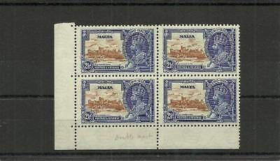 Malta Sg211A 1935 Silver Jubilee Block Of 4 Extra Flagstaff  Mounted Mint