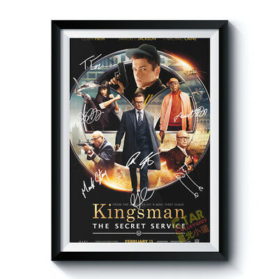 Autographed Poster KINGSMAN SECRET SERVICE Casts Reprint Movie Art Home Deco