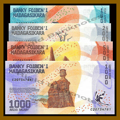 Madagascar 100 200 500 1000 Ariary (4 Pcs Set), 2017 P-New Colorful Unc