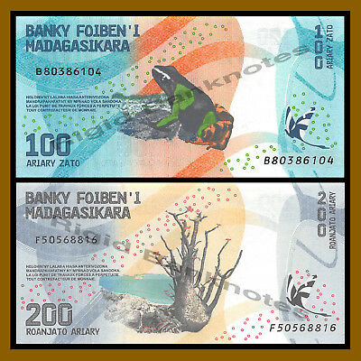 Madagascar 100 200 Ariary (2 Pcs Set), 2017 P-New Frog Colorful Unc