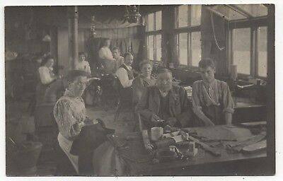 Working Life Men And Women In Tailors Sewing Room Old Real Photo Postcard