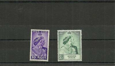 Malaya Perek Sg122-123  1948 Silver Wedding Set Mnh