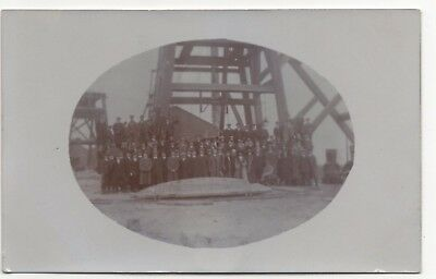 Group Of Men And Women Posed Outside A Mine ? Old Real Photo Postcard