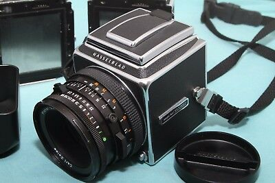 Hasselblad 500C/M 120mm Film Camera with T* 80/2.8 lens + 2 film backs