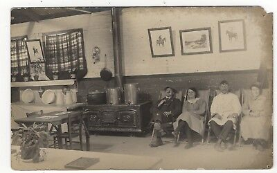 Men And Women Cook And Staff ? Kitchen / Canteen Old Real Photo Postcard