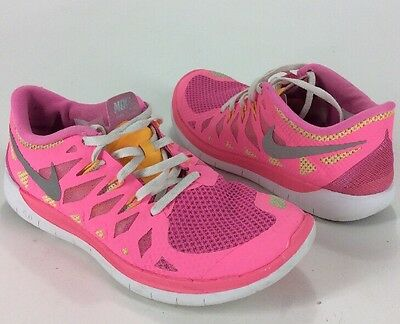 Girls Nike Free 5.0 Hot Pink Running Shoes Size 7 Youth