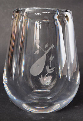 Large, Heavy, Orrefors Clear Glass Vase with Etched Design, Signed