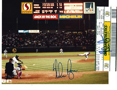NOLAN RYAN  6th No-HITTER  AUTOGRAPHED TICKET WITH GAME HAND SIGNED PICTURE