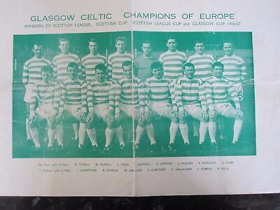 Rare Large Celtic FC 1967 European Champions Poster