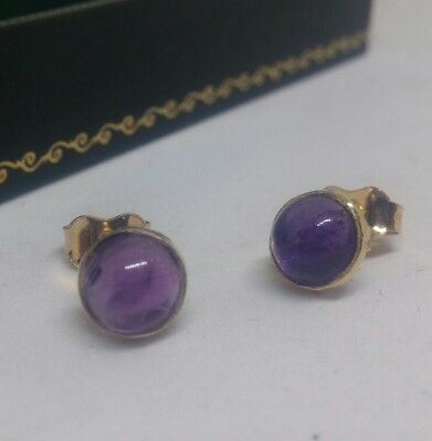 Stunning Vintage Finnish 18ct Gold Amethyst Cabochon Earrings Hallmarked 750